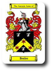 The Beales surname is thought to have been created from one of the places so named (in Northumberland, and W. Yorkshire). The place name derives from the Old English 'beo', meaning 'bee' and 'hyll', meaning 'hill'. There is also Norman name Beales derived from Old French 'bel'. First found in Northumberland, where they held a family seat from ancient times, long before the Norman Conquest in 1066.
